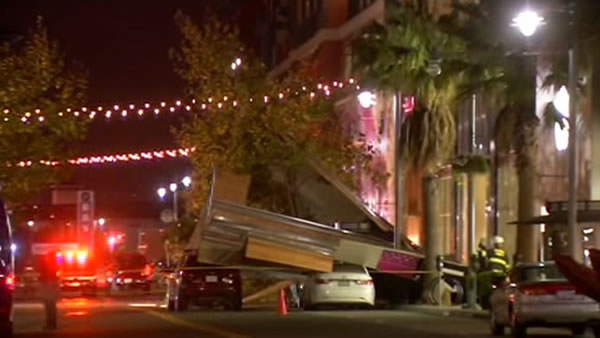 Winds caused some damage at the Bay Street Shopping Center on October 27, 2013. <span class=meta>(KGO)</span>