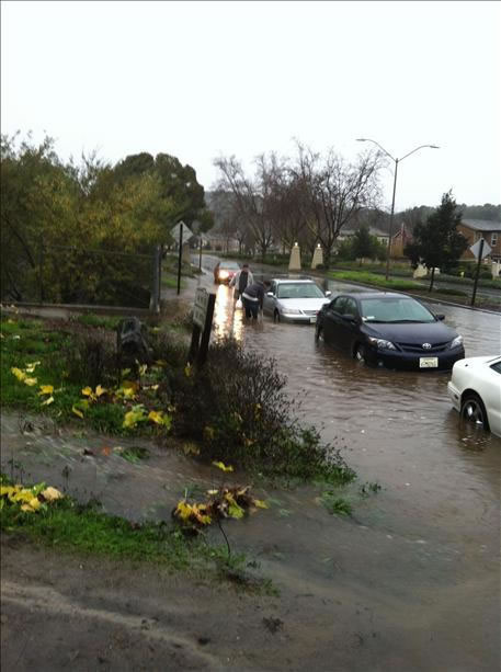 Cars stuck in floodwaters (Photo submitted via uReport)