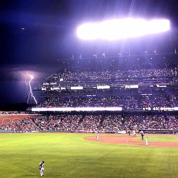 Lightning strikes at Giants game. Courtesy: Grover Anderson