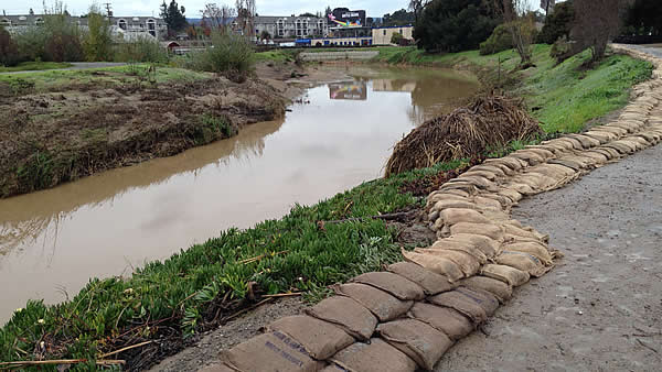 Officials placed sand bags along a creek in Palo Alto after floodwaters chased hundreds out of their homes on Monday.