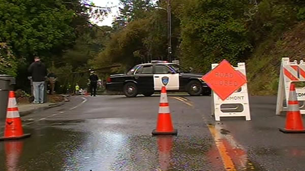 Residents in Piedmont are dealing with mudslides and downed trees.  Landslide happened around 7 a.m. due to heavy rains.  &#40;April 13, 2012&#41;.   <span class=meta>(KGO)</span>