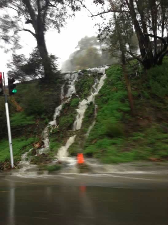 Waterfall created by the rain at Redwood Road by Hwy 13. (Photo submitted by xludexgenx5 via uReport)