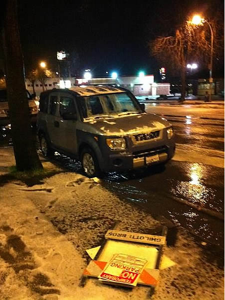 Snow in Richmond, CA. Near the corner of Barrett and San Pablo Ave. at 9:20 p.m. (Photo submitted by Jeff via uReport)