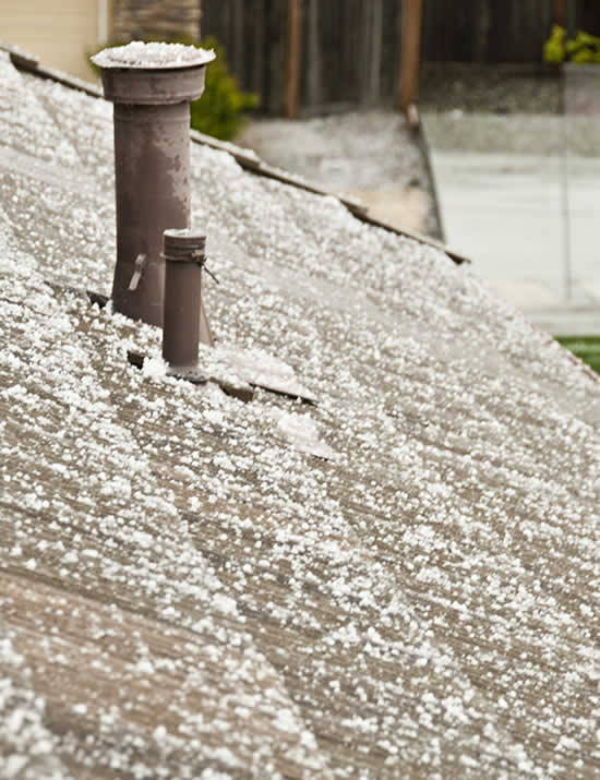 Hail on rooftop in Fairfield (Photo submitted by FightingFelix via uReport)