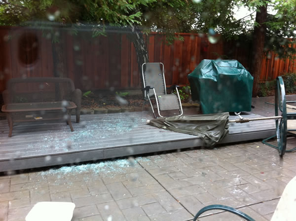 Wind shatters patio glass table in Antioch (Photo submitted by user David Madrigal via uReport)