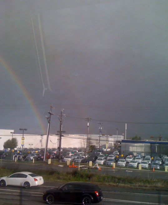 Double rainbow spotted from Dublin BART