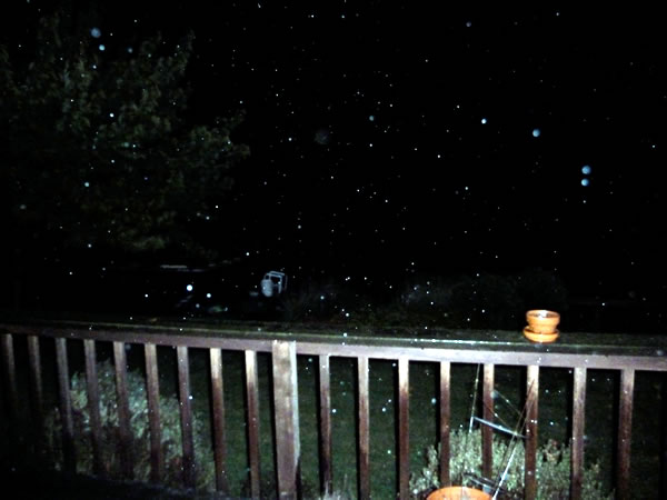 Hail coming down Saturday evening (9:38 p.m.) in Castro Valley.  (Photo submitted by Bruce Skelly via uReport)