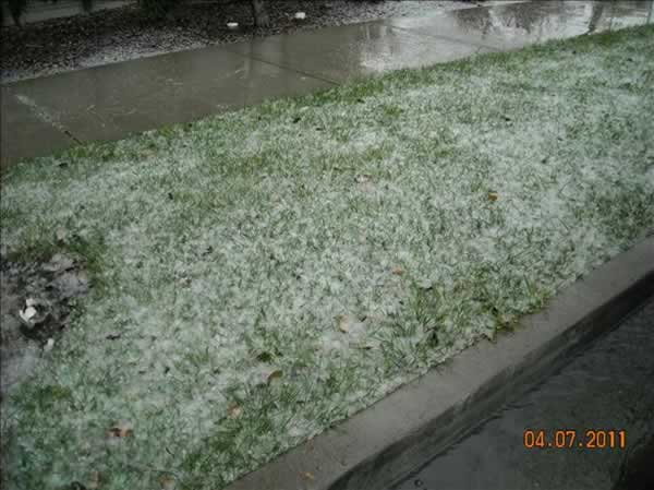 An isolated thunderstorm brings a mix of hail and snow to Fairfield (ABC7)