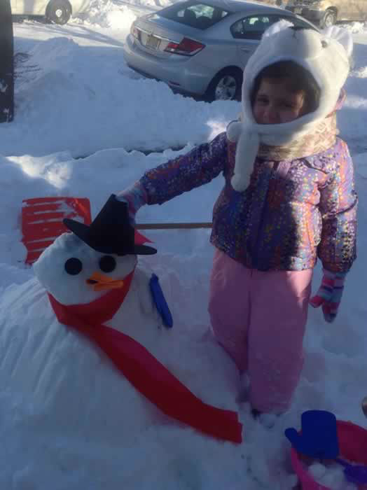 Adriana's snowman. (Photo submitted by Jo-Ann B. via Facebook)