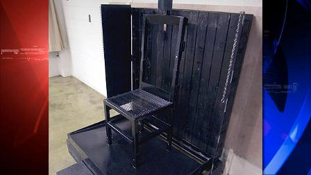 Shown is the firing squad execution chair during a tour of the Utah State Prison at Draper, Utah, Monday, May 5, 2003. The chair is metal, backed by 2x4s with layers of Kevlar attached to the wall. (AP Photo/Douglas C. Pizac)