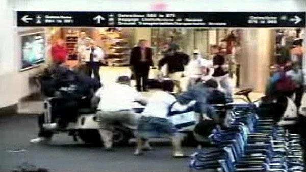 Airport cart crash caught on camera