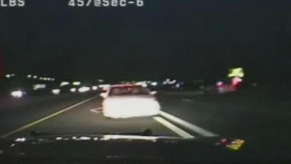 Wrong-way driver collides with trooper