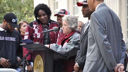 Images of the rally at City Hall for the newly crowned SWAC Champions, the Texas Southern University Tigers.