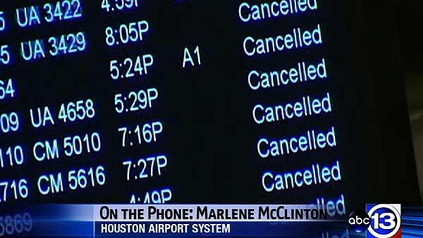 Airport spokesperson Marlene McClinton on flight status