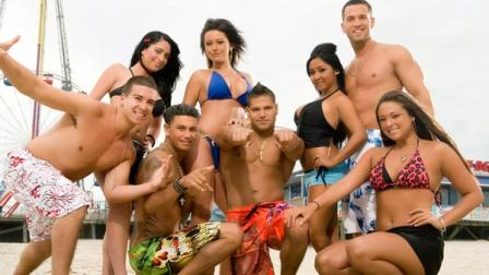 An undated file photo released by MTV, shows the cast of Jersey Shore, from left, Vinny Guadagnino, Angelina Pivarnick, Paul  DJ Pauly D Delvecchio, Jenni JWOWW Farley, Ronnie Magro, Nicole Snooki Polizzi, Mike The Situation Sorrentino and Sammi Sweetheart Giancola. This year, the Jersey Shore Jersey shore has become a destination in its own right as fans of the MTV reality series descend on the Garden State to experience the same sights, sounds and smells. (AP Photo/MTV, FILE)