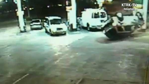 Terrifying Texas gas station crash caught on camera