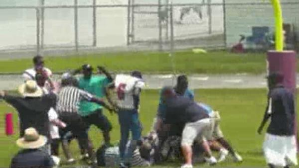 High school football game fight caught on camera
