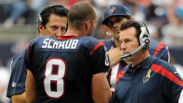 Kubiak on Schaub's injury, Leinart taking over