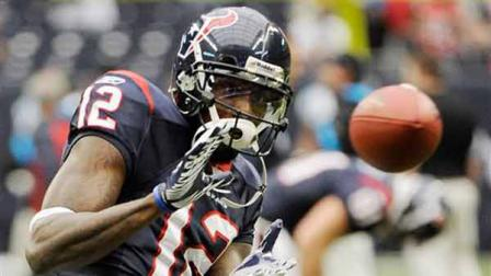 Houston Texans wide receiver Jacoby Jones before an NFL football game against the Carolina Panthers Sunday, Dec. 18, 2011, in Houston. (AP Photo/Dave Einsel)