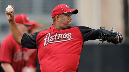 Houston Astros pitcher Livan Hernandez throws during spring training baseball, Tuesday, Feb. 28, 2012, in Kissimmee, Fla. (AP Photo/Julio Cortez)
