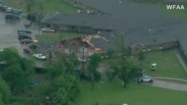 Large building damaged by Dallas area storms