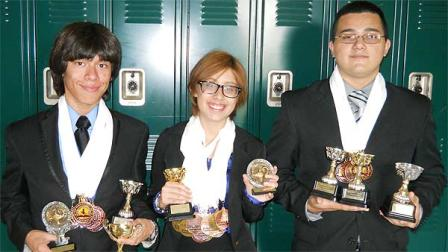 Pedro Reyes (left), Alondra Serna (middle), Eduardo Aleman (right) are representing the US in the World Scholars Cup