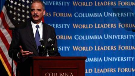 Attorney General Eric Holder, speaks at Columbia University Thursday, Feb. 23, 2012 in New York. (AP Photo/Frank Franklin II)