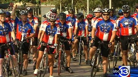 On Tuesday morning, the Houston Police bicycle relay team left Discovery Green for San Diego, California.