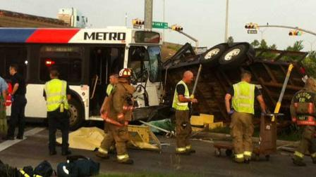 The wreck happened near the South Loop at Scott Street in southeast Houston this morning.