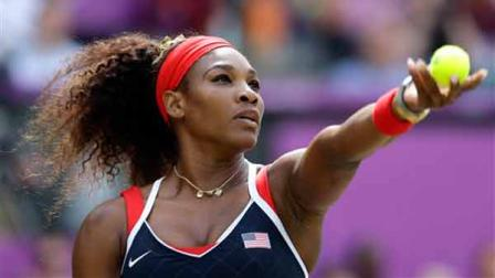 United States Serena Williams serves to Maria Sharapova of Russia in the womens singles gold medal match at the All England Lawn Tennis Club at Wimbledon, in London, at the 2012 Summer Olympics, Saturday, Aug. 4, 2012. (AP Photo/Elise Amendola)