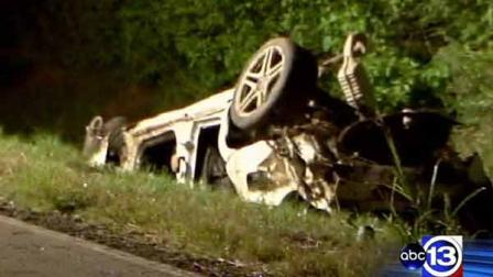 Investigators said the driver of this car was speeding when he lost control and crashed. The driver died and his wife was critically injured, officials said