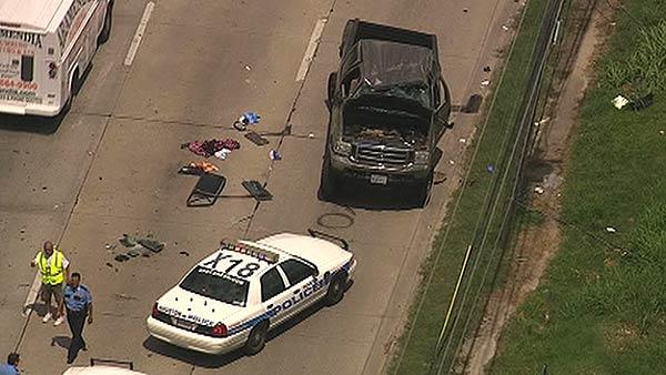 Aerials of crash after police chase in SE Houston