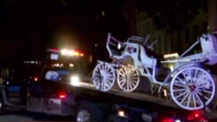 Two people in this horse-drawn carriage were hurt when a car slammed into it in downtown Houston