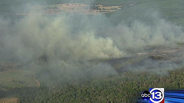 Aerials of wildfire in Walker County