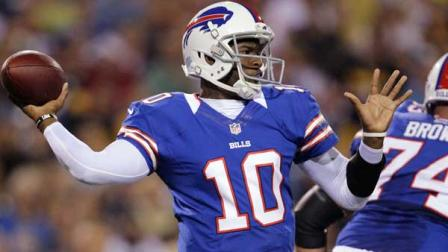 Buffalo Bills Vince Young throws against the Pittsburgh Steelers during the second half of a preseason NFL football game in Orchard Park, N.Y., Saturday, Aug. 25, 2012. (AP Photo/Gary Wiepert)