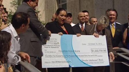 The record donation was presented yesterday at Houston City Hall.