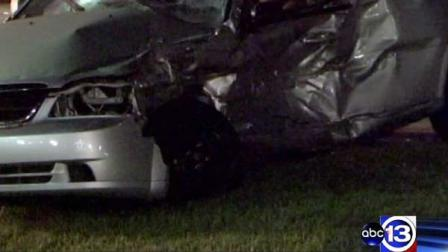 This car was struck by a suspected drunk driver in northwest Houston and both occupants were killed, police say
