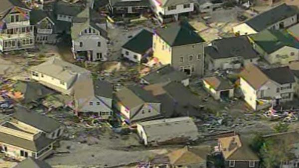Aerial shots of damage in NJ