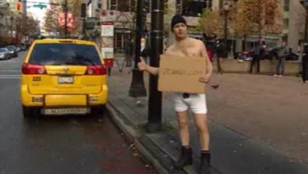 Man hitchhiking in underwear for good cause