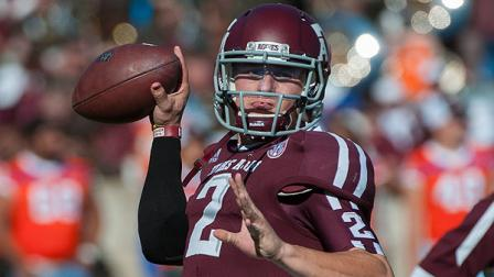 Texas A&Ms Johnny Manziel warms up before an NCAA college football game against Sam Houston State, Saturday, Nov. 17, 2012, in College Station, Texas. (AP Photo/Dave Einsel)
