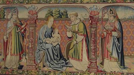 The tapestry depicts the Virgin Mary and Saint Vincent of Saragossa.