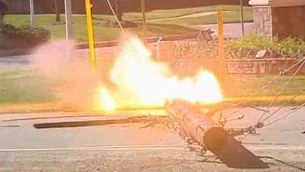 Transformer on downed power line explodes