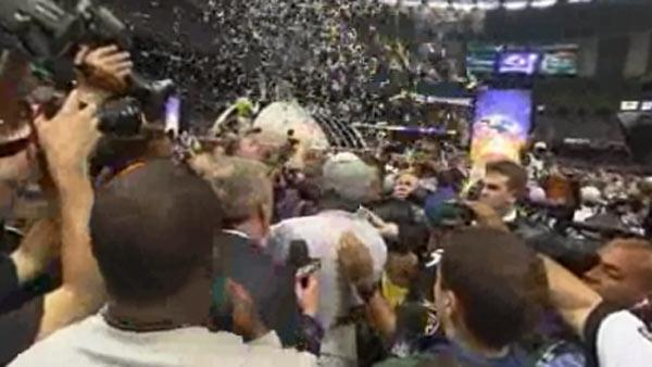 Ravens fans celebrate at dome following win