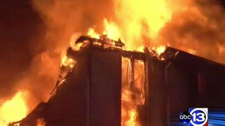 A huge house goes up in flames in northwest Harris County overnight just as the couple who lived there came home.