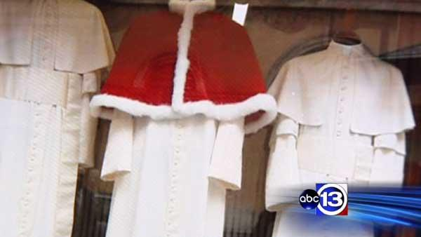 Clothing store prepares attire for new pope