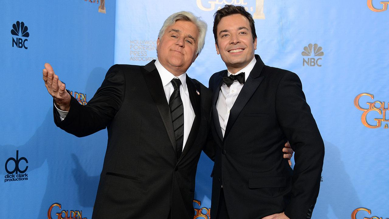 Jay Leno and Jimmy Fallon, hosts of Tonight Show