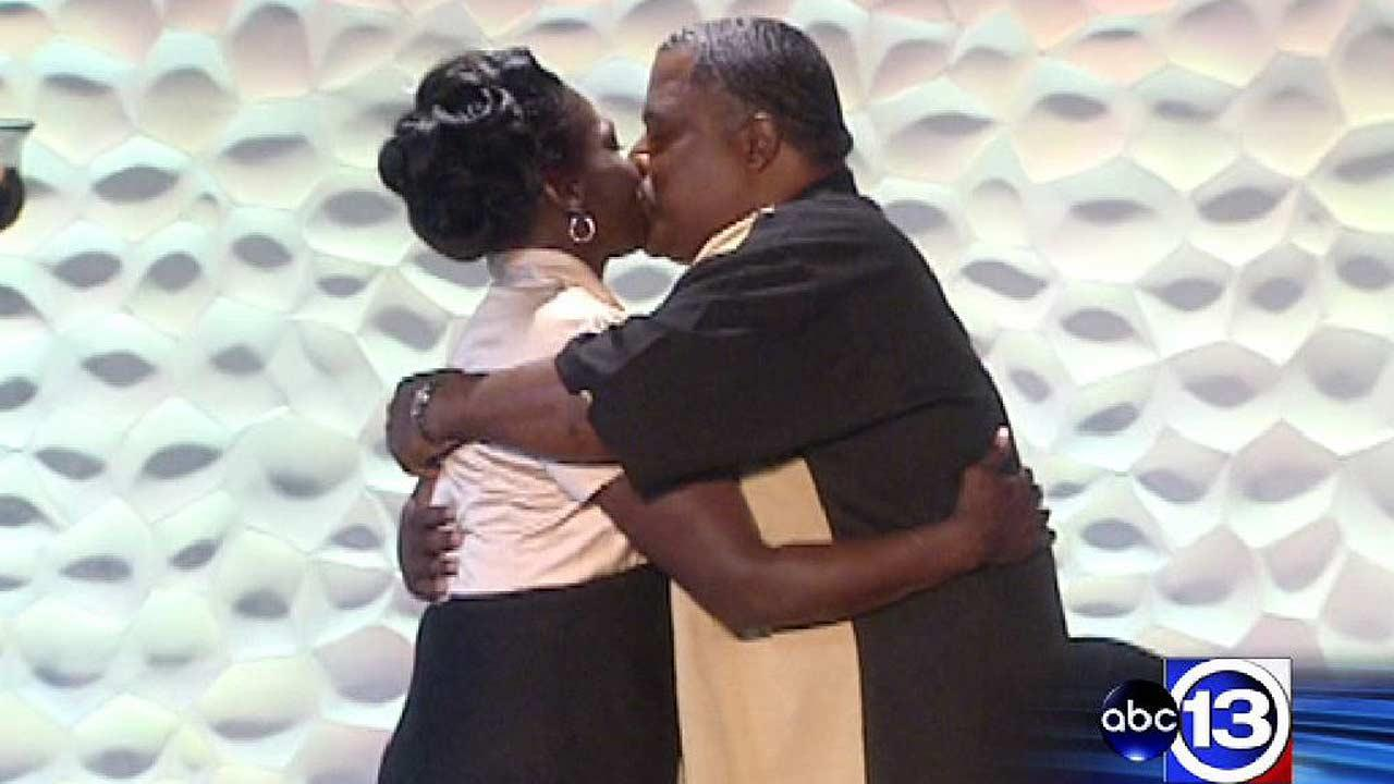 You may now kiss the bride! Wanda Ware and Bryan Prejean were married Sunday with help from a church that is helping them get their lives back on track