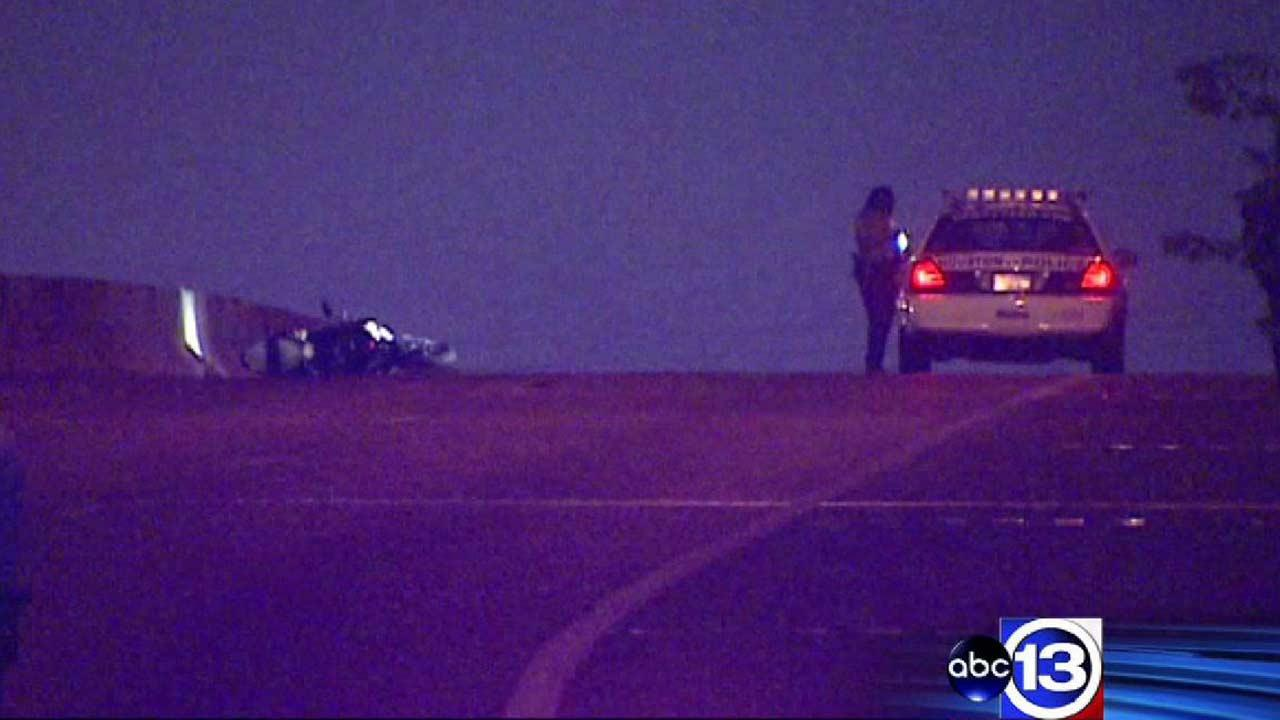A man fell to his death after losing control on a motorcycle on a bridge in east Houston
