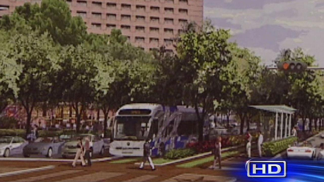 Artist rendering of the mass transit corridor along on Post Oak Boulevard.