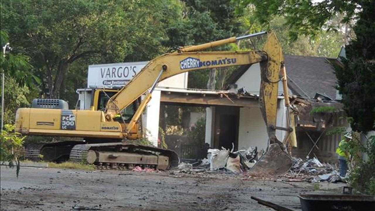Demolition of Vargo's restaurant underway